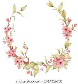 Sakura flowers watercolor illustration. Blossom petal hand drawn wreath