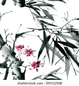 Sakura tree and bamboo leaves. Watercolor and ink illustration in style sumi-e, u-sin. Oriental traditional painting. Seamless pattern.