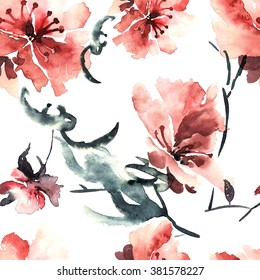 Sakura. Watercolor and ink illustration of red sakura flowers in style sumi-e, u-sin. Oriental traditional painting. Seamless pattern.