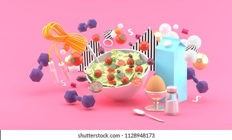 Salads, milk, eggs, dumbbell, exercise ropes amid colorful balls on pink background.-3d rendering.