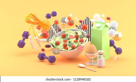 Salads, milk, eggs, dumbbell, exercise ropes amid colorful balls on orange background.-3d rendering.