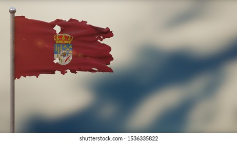 Salamanca 3D tattered waving flag illustration on flagpole. Isolated on blurred sky background with space on the right side. Depth of Field effect.