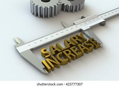 SALARY INCREASE, message on vernier caliper, 3D rendering
