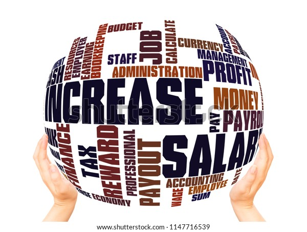 Salary Increase word cloud sphere concept on white background.