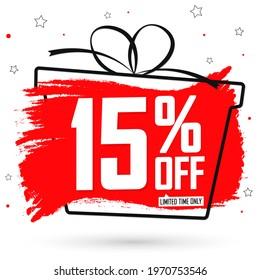 Sale 15% off, poster design template, special offer, discount banner, best deal, final promotion