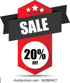 Sale 20% off red label and sign.