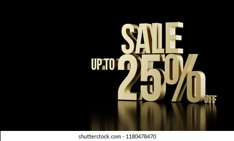 Sale up to 25 percents off 3d golden type composition with beauty reflections isolated on black background