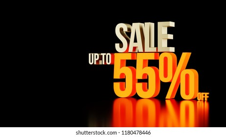 Sale up to 55 percents off 3d golden type composition with hot glowing part of '55 off' and beauty reflections isolated on black background