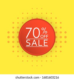 Sale banner design. 70 percent price off discount label or tag. Promo badge for advertising design.