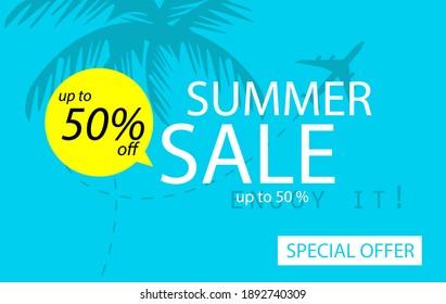 Sale banner template design, Summer sale special offer.