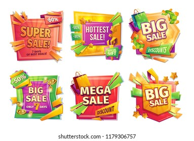 Sale banners, badges, stickers, tags for big holiday sale, black Friday, special offer, cartoon set. Super, hottest, big, mega sale 30 50 60 percent Template of advertising design