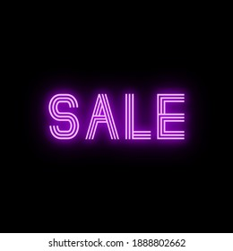 Sale Colourful Glowing Pink Neon Sign Text on Black Background, Synthwave Cyberpunk Square Graphic