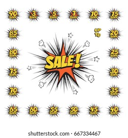 SALE comic text speech bubble with huge discount set. Isolated sound effect puff cloud icon. Raster copy.