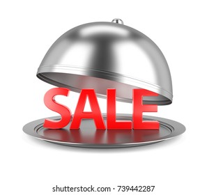 Sale Concept. Restaurant Cloche with open Lid and Red Sale Text. 3D Illustration