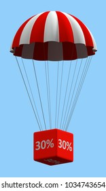 Sale concept showing parachute with a 30% sign. 3d illustration