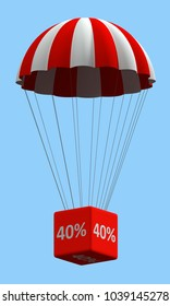Sale concept showing parachute with a 40% sign. 3d illustration