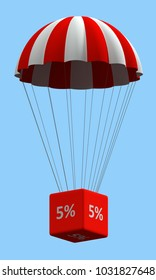 Sale concept showing parachute with a 5% sign. 3d illustration