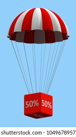 Sale concept showing parachute with a 50% sign. 3d illustration