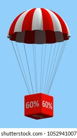 Sale concept showing parachute with a 60% sign. 3d illustration
