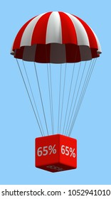 Sale concept showing parachute with a 65% sign. 3d illustration