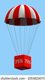 Sale concept showing parachute with a 75% sign. 3d illustration