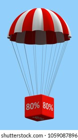 Sale concept showing parachute with a 80% sign. 3d illustration