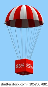 Sale concept showing parachute with a 85% sign. 3d illustration