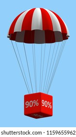 Sale concept showing parachute with a 90% sign. 3d illustration on white background