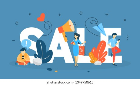 Sale concept. Special offer and big discount. Best price. Idea of business promotion. Christmas or blackfriday sale. Flat  illustration