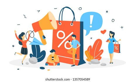 Sale concept. Special offer and big discount. Best price. Idea of business promotion. Christmas or blackfriday sale. Isolated flat  illustration