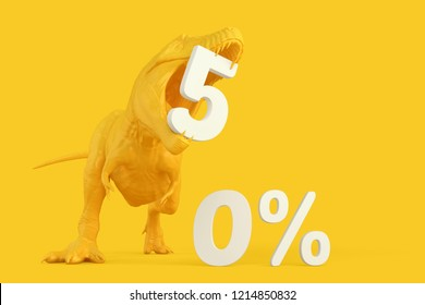 Sale concept. T-Rex with 50 precent discount sign. 3D illustration. Contains clipping path.