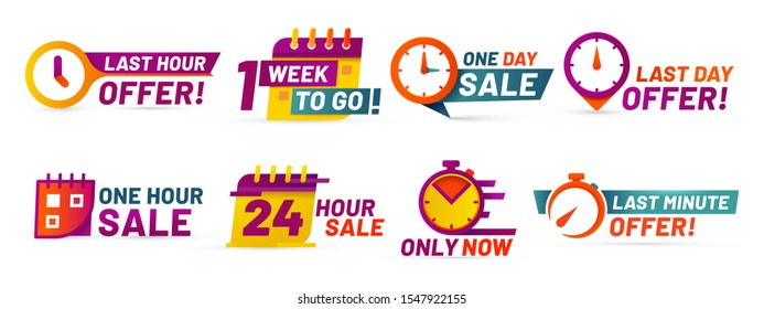 Sale countdown badges. Last minute offer banner, one day sales and 24 hour sale promo stickers. business limited special promotions, best deal badge. Isolated  icons set