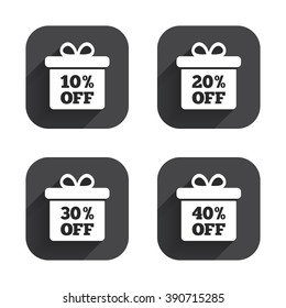 Sale gift box tag icons. Discount special offer symbols. 10%, 20%, 30% and 40% percent off signs. Square flat buttons with long shadow.