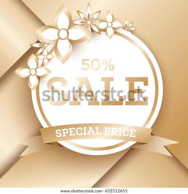 Sale Golden Banner Template with Flowers and Copy Space. Sale Tag.