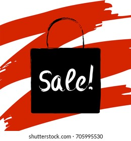 Sale inscription on shopping bag with red brush stroke background. Black friday digital illustration. Sale shopping bag. Bright sales banner. Shopping bag icon or logo. Sales or discount. Retail sale