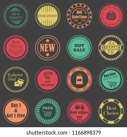 Sale labels. Set of shop stamps. Raster version of the illustration
