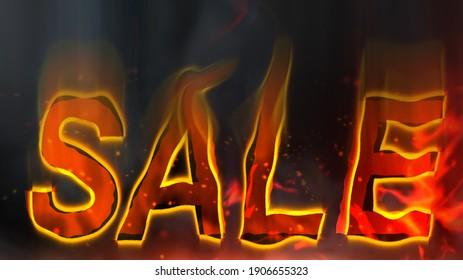 Sale lettering on fiery background. Hot sale.