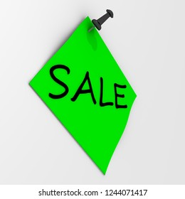 Sale. Note paper with pushpin. Green sheet for notes fastened on a white wall with black pushpin with word SALE. 3D Illustration