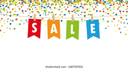 sale party flag on confetti background illustration