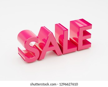 Sale pink glossy text word 3D render
