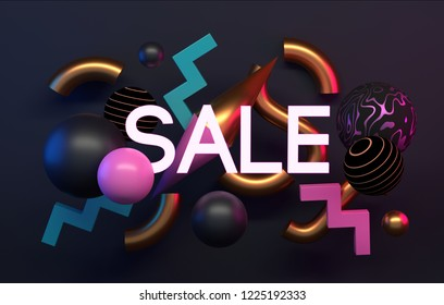 Sale poster or banner. Abstract shapes and text. 3D render, rendering