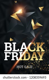 Sale, promo banners for black friday, inscription Black Friday on a dark background, hot sale, discounts.. Gold letters. Banner, Typography design, copy space. Mockup, layout. Creative background