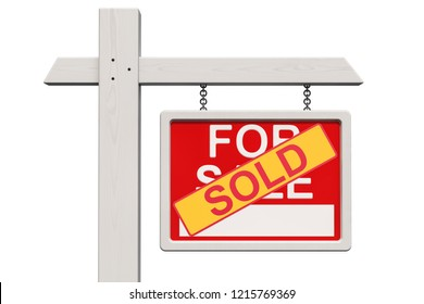 For Sale Real Estate Sign with Sold sticker, 3D rendering isolated on white background