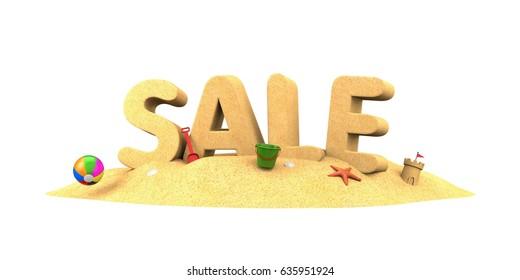 Sale season - word of sand. 3d illustration