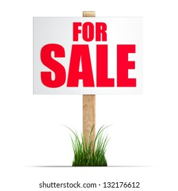 For sale sign Isolated on white background High resolution 3d render