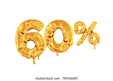 Sale sixty percent organic figures. Golden flowing paint on the symbol. oil mark. White background. 3d render