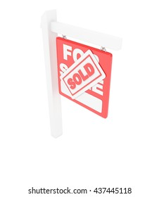 For sale sold  red icon real estate on white background. 3D rendering.