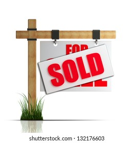 For sale (SOLD) sign Isolated on white background High resolution 3d render