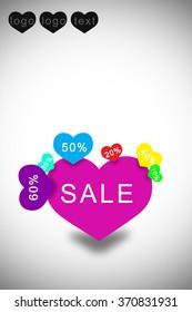 Sale sticker hearts Leaflet