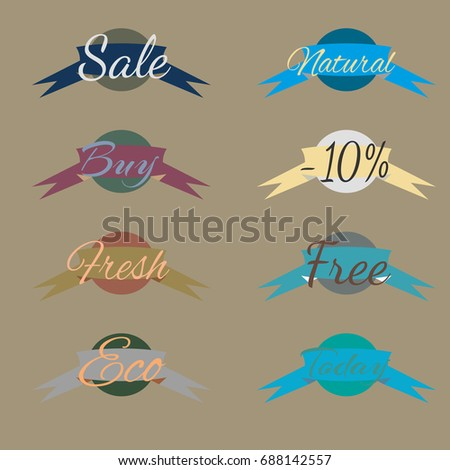 Sale Stickers Online Shopping Sale Fresh Stock Illustration